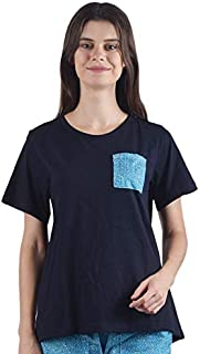 Gemmy Days TT160720T Womens Cotton T Shirt with Rayon Printed Patch Pocket.