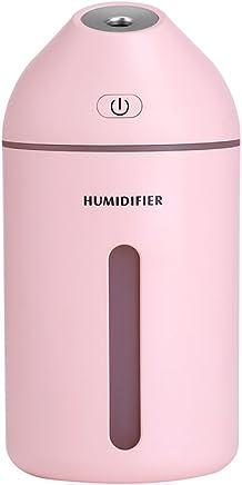 Foluu 加湿器 超音波式 USB式 小型大容量320ML 長時間連続稼働約10H 乾燥対策 卓上加湿器 ミスト噴出量35ML 静音 省エネ mini humidifier (加湿器, ピンク)