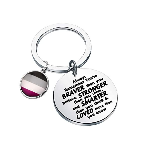 AKTAP LGBT Rainbow Gay & Lesbian Pride Keychain Pansexual Gifts Transgender Pride Jewelry Always Remember You're Braver Than You Believed for Bisexual Pride