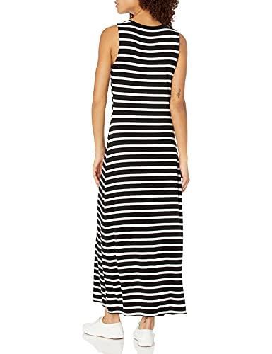 Amazon Essentials Tank Maxi Dress Vestido, Negro, Rayas Marineras, S