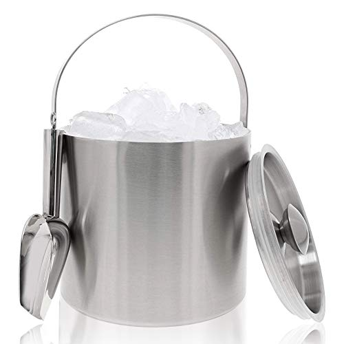 Insulated Stainless Steel Ice Bucket with Scoop, Lid and Handle (6.6 x 7.5 in)