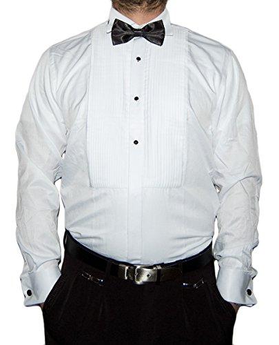Farrabi Herren Smoking Hemd Slim Fit Kläppchenkragen Fliege Plissee Manschettenknöpfe S15 Weiß L 41