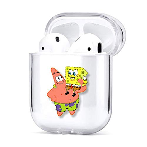 Canghai Cute Spongebob Best Friend Couple Pattern Clear Transparent Hard PC Case Protector for Airpods Wireless Earphone Earbuds Case Protector(H03)