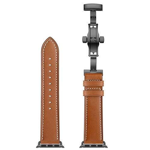 RVTYR Matino - Correa de cuero compatible con bandas AppleW de 42 mm 38 mm Iwatch Series 3 2 1 + hebilla de metal pulsera de acero inoxidable correa de repuesto