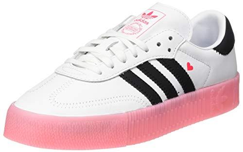 adidas Womens Sambarose Sneaker, Footwear White/Core Black/Glory Pink, 39 1/3 EU