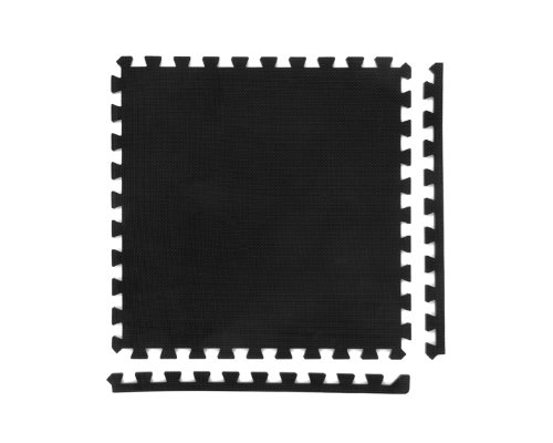 24 x Negro Colchonetas, Suelo para Gimnasio, EVA Puzzle 60cm x 60cm x12mm con Reverso Antideslizante, Certificacion Libre De Toxicos