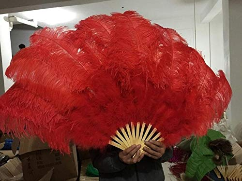 Big Ostrich Feathers Fan with Bamboo Staves for Belly Dance Halloween Party Ornament Decor Necessary, 13 Bones - red - 12 Shares - Showgirl Feather Fans - Feather Fans Large