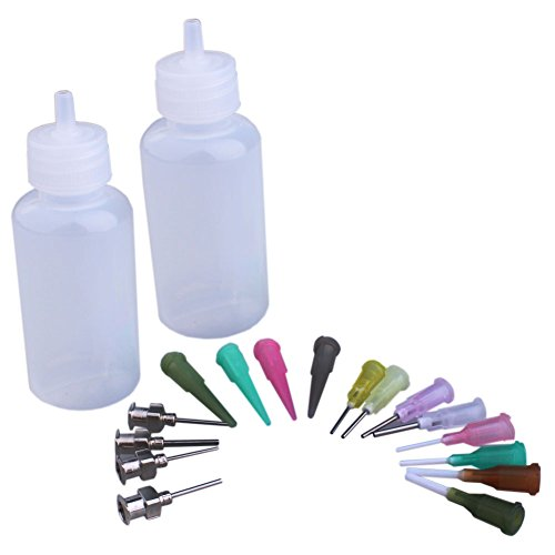 Henna Tattoo-Andruck-Flasche, mit 16 Nadeln zum Aufsetzen von Tattoo-Nadeln, Spritzdüse, Tattoo,Andruckflasche, Flüssigkeit, Nadelspitze - Pipette