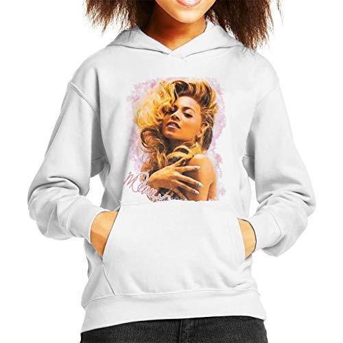VINTRO Singer Beyonce Shiny Nails Kinder Kapuzenpullover Original Portrait von Sidney Maurer Gr. M, Weiß (Arctic White)