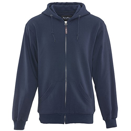 RefrigiWear Men's Thermal Knit Lined Hoodie - Warm Hooded Zip-Up Sweatshirt (Navy Blue, XL)