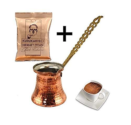 Turco Türkisches Café Jarra Cobre Cafetera Eléctrica–Olla con mango de metal XX de Small con 100g café turco de UK