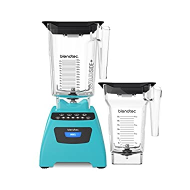 Blendtec Classic 575 Blender Bundle with Wild Side+ Jar and Four Side Jar, Caribbean