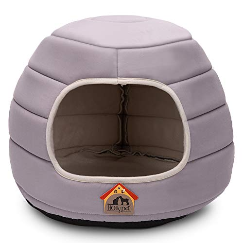 Hollypet 16×16×12.5 inches Polyester Peach Skin Self-Warming 2 in 1 Foldable Cave Shape High Elastic Foam Pet Cat Bed for Cats and Small Dogs, Gray