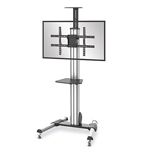 conecto LM-FS04G Pro TV Ständer Standfuß rollbar Universal für Monitor Fernseher LCD LED Plasma mobil mit Rollen höhenverstellbar schwenkbar drehbar 42-55 Zoll (107-140cm) VESA 200x200-600x400mm Alu