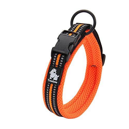 Creation Core 3M Reflective Mesh Padded Dog Collar Adjustable Nylon Outdoor Adventure Pet Collar, Orange L