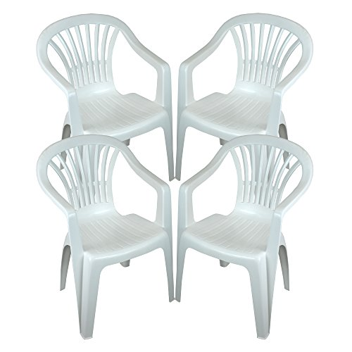 CrazyGadget Plastic Garden Low Back Chair Stackable Patio Outdoor Party Seat Chairs Picnic White Pack of 4 (X4)