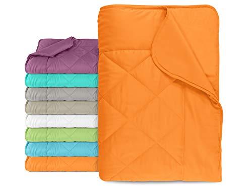 npluseins Leichtsteppbett aus samtweichem Mikrofasergewebe - Maße ca. 135 cm x 200 cm - vielseitig verwendbar - erhältlich in 7 modernen Farben - geprüfte nach Öko-Tex Standard 100, orange
