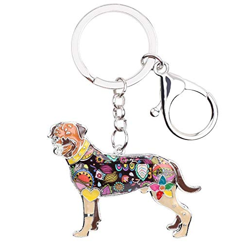 LZHLMCL Women Keyrings Keychains Enamel Dog Key Chain Keychains Rings Gift For Women Girls Pet Lovers Car Bag Fashion Animal Brown