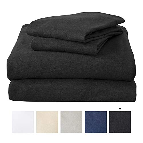 Great Bay Home King Jersey Knit Sheets. All Season, Soft, Cozy Flannel Jersey T-Shirt Sheet Set. Cotton Blend Jersey Sheets. Cozy Flex Collection (King, Charcoal)