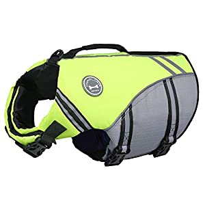 Vivaglory New Sports Style Ripstop Dog Life Jacket with Superior Buoyancy & Rescue Handle, Bright Yellow, L