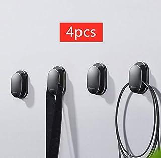 HUIJUNWENTI 4pcs del Coche del Organizador del almacenaje Ganchos for USB Gancho de Cable del Auricular Clave Almacenamiento Adhesiva Pared Percha Auto Clip Sujetador (Size : 4pcs Black)