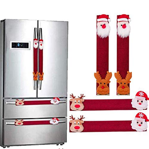 Christmas Santa Refrigerator Handle Covers 12' Microwave Oven Dishwasher Fridge Door Handle Covers Kitchen Appliance Handle Covers Christmas Decorations Set of 4