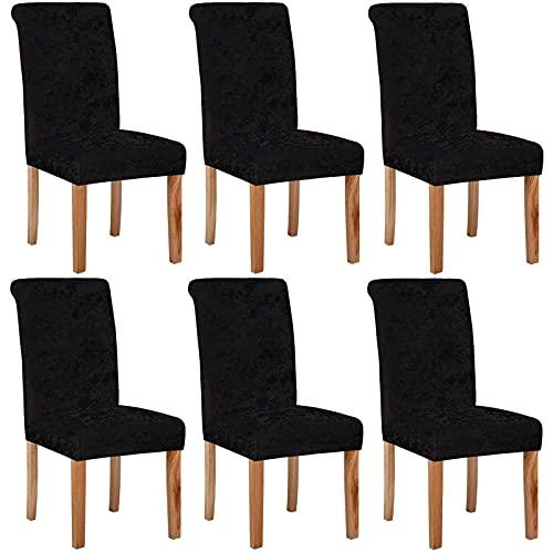 Esszimmerstuhl Schonbezüge Samt Esszimmerstuhlbezüge, Stretchstuhl Schonbezug Elastic Chair Protector Stuhlbezüge für Esszimmer Waschbar für die Küche Hochzeit schwarz 6er-Set
