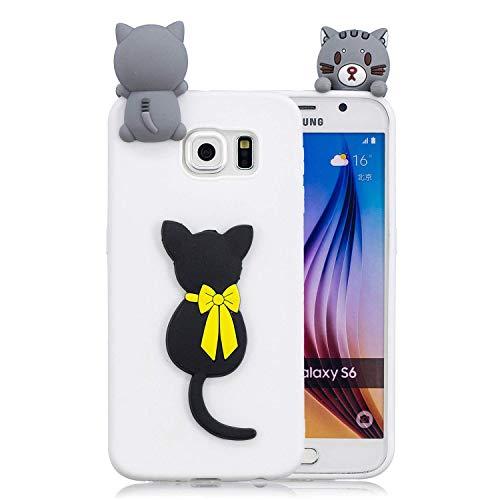 Galaxy S6 Hülle, Samsung Galaxy S6 Schutzhülle, 3D Katze - Weiß Muster Design Handy Hülle für Samsung Galaxy S6, Ultra Dünn TPU Weich Silikon Handycover Schale Schutzhülle