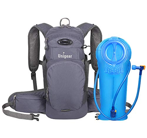 Unigear Hydration Packs Backpack with 2L TPU Water Bladder Reservoir Thermal Insulation Pack Keeps Liquid Cool up to 4 Hours for Running Hiking Climbing Cycling Grey