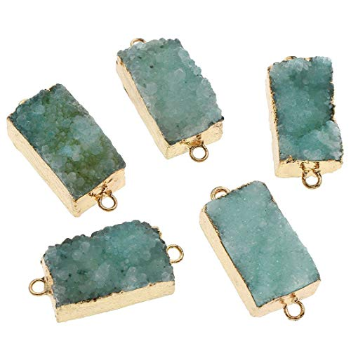 2pcs Turquoise Green Crystal Gold Rectangle Druzy Ice Quartz Agate Natural Gemstone Plated Focal...