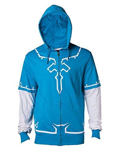 Zelda Kapuzen Jacke Link Outfit Breath of the Wild Nintendo Baumwolle blau weiß - XXL