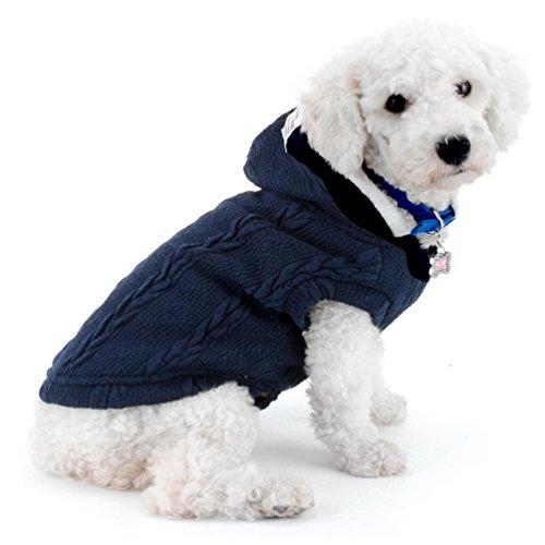 SMALLLEE_LUCKY_STORE Maglia Maglione per Cani Giacca per Freddo Giacca Chihuahua con Cappuccio Cane Gatto Abbigliamento Invernale per Cani di Piccola Taglia Abbigliamento Caldo Blu L