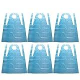 Cabilock 100Pcs Delantales Desechables Delantal de Plástico Impermeable a Prueba de Aceite Delantal (Azul)