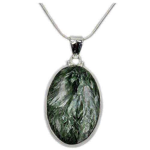 Russian Seraphinite Necklace, Sterling Silver Serahinite Pendant...