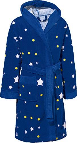 Erwin Müller Kinder-Bademantel mit Kapuze Frottier blau Größe 122/128 - saugstark, hautfreundlich, mit Tasche, Sterne (weitere Farben, Größen)