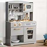 Hooga Play Kitchens for Kids Wooden Pretend Toy Kitchen with Accessories (Grey)
