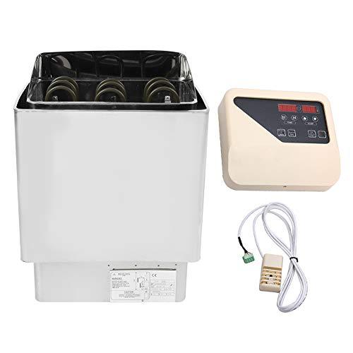 fuwinkr Elektrischer Saunaofen, 4.5KW Saunaofen Edelstahl-Saunakit Heizung Sauna Dampfmaschine Schlaf verbessern Home SPA Herdheizung mit internem Controller für 5-9m³ Saunaraum