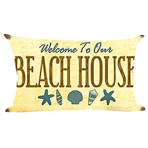 ramirar Welcome to Our Beach House - Funda de cojín con diseño de Estrella de mar con Fondo Amarillo Retro para decoración Lumbar, 30 x 50 cm