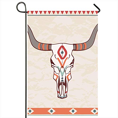 Onete Garden Flag 28x40 Inches Geometric with Ox Design Cattle Western West Bull Aztec Tattoo Skull Ornament Abstract Textures Outdoor Seasonal Home Decor Welcome House Yard Banner Sign Flags