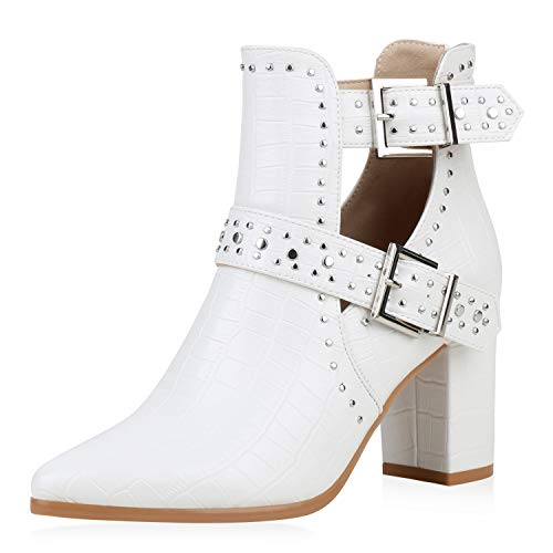SCARPE VITA Damen Stiefeletten Ankle Boots Blockabsatz Schuhe High Heels Cut Out Kroko-Optik Booties Nieten Absatzschuhe 191638 Weiss Kroko 37