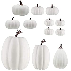 winemana 12Pcs Assorted Sizes Artificial White Pumpkins for Fall Harvest Festival Thanksgiving Halloween Pumpkin Decorating