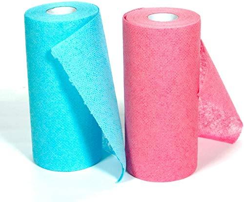 SERENITA Kitchen Dish Wash Scrubber Cloths. Melt Blown. Scratch Free. No Ordor. Hygienic Disposable Reusable. Bathroom Bathtub Cleaner. 120 Count Blue+Pink