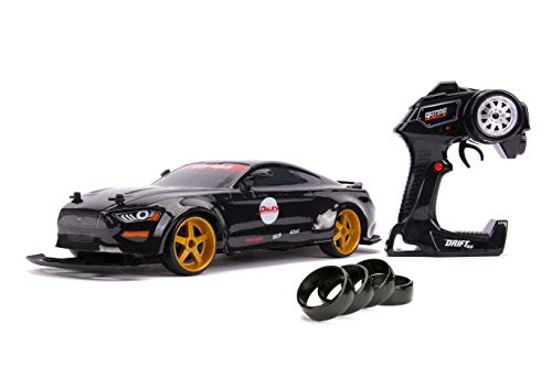 Jada Toys Big Time Muscle 2018 Ford Mustang Gt Widebody Elite Drift Rc, 1: 10 Scale 2.4Ghz Remote Control, Black, Ready to Run
