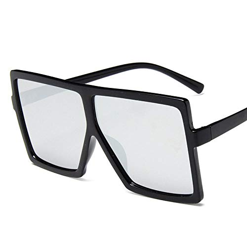 Gafas De Sol Polarizadas Black Square Oversized Sunglasses Women Big Frame Colorful Sun Glasses Men Mirror Oculos Unisex Gradient Hip Hop Shades Uv400 Silver