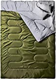 Ohuhu 220x150cm Saco de Dormir Doble Enorme con 2 Almohadas Gratis y una Bolsa de Transporte, Cuatro Doble Tiradores de la Cremallera - Temperatura Cómodo: -6° C / 20F ~ 10 ° C / 50F (Verde)