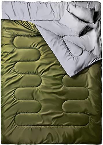 Ohuhu Groß Doppelte Schlafsack 218 x 150cm Erwachsene Deckenschlafsack mit 2 Gratis Kissen und eine Tragetasche, Vier Doppel Zippern, angenehme Temperatur: -5 °C/ 20F ~ 10 °C/ 50F für Camping, Grün