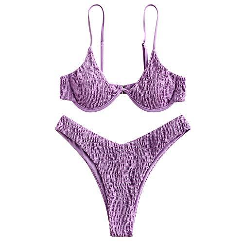 ZAFUL Damen Leopard Print Bügel High Cut Triangle Bikini Set Badeanzug - - Medium