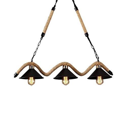 Beautiful lampen/retro 3 koppen hanglamp hanglamp vintage creatief eenvoudige loft hanglamp hennep touw restaurant slaapkamer industrieel ijzer lampenkap voor woonkamer