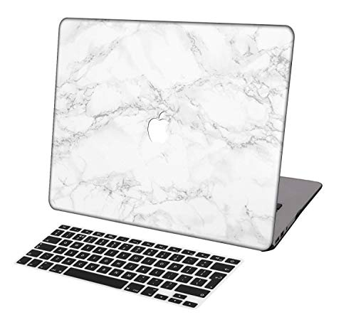 Laptop Case for MacBook Air 13 inch Model A1932,Neo-wows(2 in 1 Bundle) Plastic Ultra Slim Light Hard Shell Cover UK Keyboard Cover Compatible MacBook Air 13 inch 2018 Release,Marble A 285