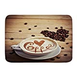 Popsastaresa Alfombrillas para baño, Italiano Café Café Taza Café Amor Corazón Dibujo Latte Closeup Comida Bebida Francia Amante Aroma Cacao,con Respaldo Antideslizante,29.5'X17.5'